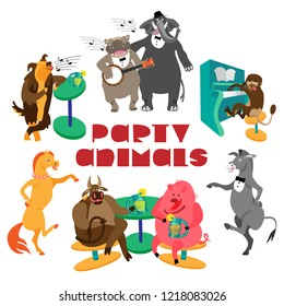 Party animals lettering and hippo with banjo, elephant, dog, monkey with piano, dancing horse and donkey, bull and pig, drinking lemonade. Fine for greeting cards and party invitations.