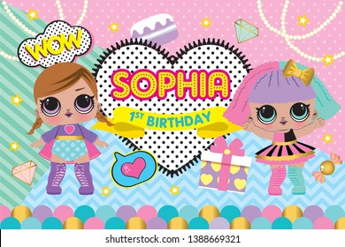 Party Backdrop with cute Lol Doll, Baby shower party backdrop. first birthday party