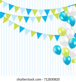 Party Background with Flags and Balloons Vector Illustration. EPS 10