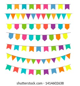 Party Background with Flags Vector Illustration. Vector celebrate background party flags