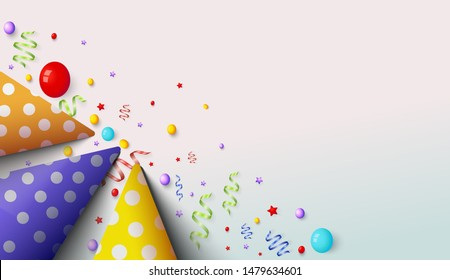 Party background with three birthday hats in it. simple modern and elegant design. suitable for wallpaper, banners or templates.