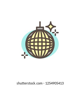 Party ball filled outline icon, line vector sign, linear colorful pictogram isolated on white. Disco ball symbol, logo illustration. Pixel perfect vector graphics