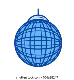 Party ball vector line icon isolated on white background. Party ball line icon for infographic, website or app. Blue icon designed on a grid system.