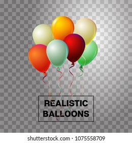 Party balloons cool vector set on transparent background. Festive birthday or New Year celebration design element. Realistic flying party balloons bunch. Party VIP love wedding decoration.