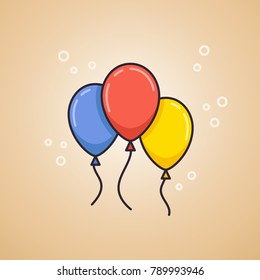 Party balloons illustration. Balloons are given for special occasions, such as birthdays or holidays. Party decoration. Linear style vector illustration