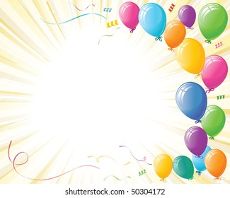 Party balloons, ribbons, and confetti on yellow burst background. All elements on separate layers for easy editing.