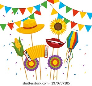 party banner with hat and flowers to festa junina