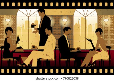 The party at the bar in the style of the early 20th century. Retro party invitation card. Handmade drawing vector illustration. Art Deco style.