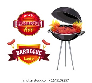 Party barbecue isolated icons set vector. Shield with ribbons and flames, roasted sausages on roaster. Brazier with cooking frankfurter broiling meal