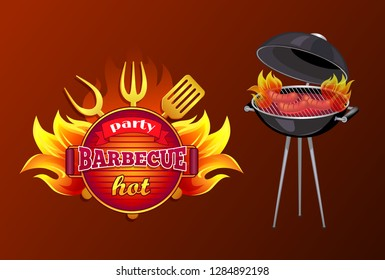 Party BBQ barbecue poster with text and mangal. Brazier with roasting sausages frankfurter. Icon of frying pan, spatula and forks with flame vector