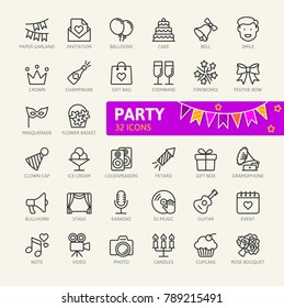 Party, Birthday, celebration elements - minimal thin line web icon set. Outline icons collection. Simple vector illustration.