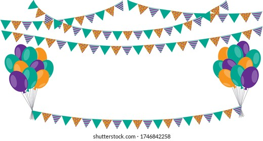 Party and birthday decorations from baluns and flags. Vector background of happy celebration. Stock Photo.