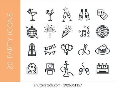 Party, Birthday icons. Set of 20 party trendy minimal icons. Confetti, Music, Gift, Gamepad, Hookah icon. Design signs for banner, invitation, flyer, web page, mobile app. Vector illustration