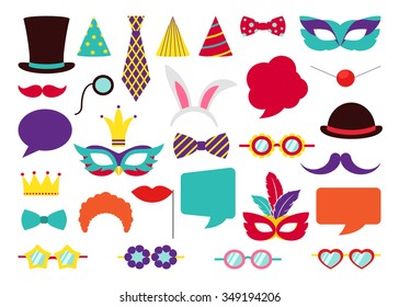 Party Birthday photo booth props. Hat and mask, costume and cylinder, bunny ears nose moustache. Vector illustration collection