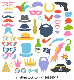 Party birthday photo booth props set. Hat, mask, cylinder, mustache, beard, sunglasses, lips, speech bubbles. Vector illustration. Pirate, hipster, clown, mafia