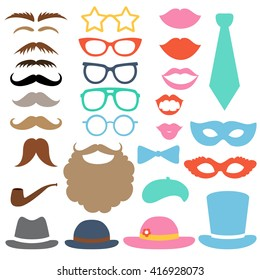 Party birthday photo booth props set. Hat, mask, cylinder, mustache, beard, sunglasses, lips, bow tie, tube, beret. Vector illustration. Hipster