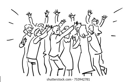 A party black and white vector sketch. Dancing young people, men and women. Simple drawing at white background.
