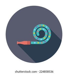 Party blower. Single flat color icon. Vector illustration.
