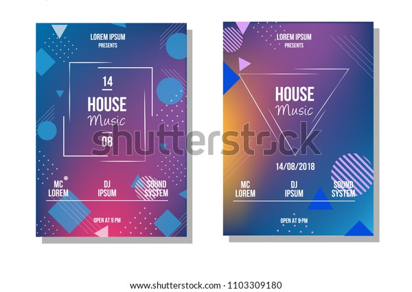 Party Brochure title sheet design. Colorful geometric background. House music