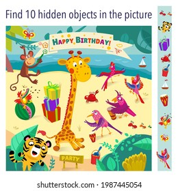 Party by the sea. Find 10 objects in the picture. Happy birthday to you, Giraffe. Vector illustration, full color.