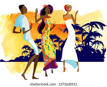 Party in the Caribbean. Three young people in bright clothes are dancing against the backdrop of a tropical sunset.