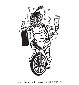 Party Cat on a Unicycle - Black and White Vector