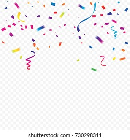 Party and celebration background with Colorful Paper confetti and streamer ribbon. Vector