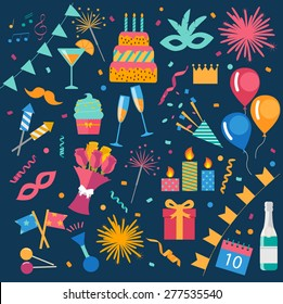 Party And Celebration Design Elements collection. Festive Event and Show icons set. Birthday And Anniversary objects. With cake, carnival masks, petards, fireworks, gifts, drinks, flags, streamers