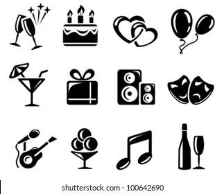 Party and celebration icon set