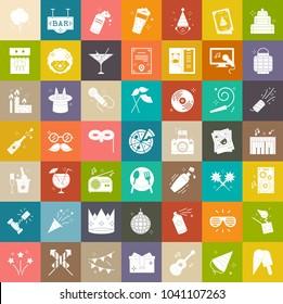 Party celebration icons, birthday celebration icons, fun event icons