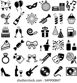 Party and Celebration icons collection - vector silhouette