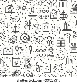 Party celebration seamless pattern. Birthday, holidays, event, carnival festive. Party decor elements thin icons. Vector illustration. Line background. Texture. Mask gifts cake cocktail firework