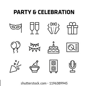 Party And Celebration Thin Line Icons for websites and mobile apps