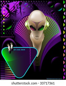 party club invitation flyer with cool Alien discjockey and electric triangle sign