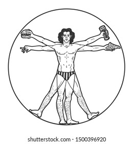 Party club Vitruvian Man with beer pizza and cigar sketch engraving vector illustration. Tee shirt apparel print design. Scratch board style imitation. Black and white hand drawn image.