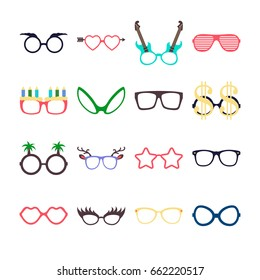 Party colorful sunglasses icon set in flat style isolated on white background. Design templates. EPS18.