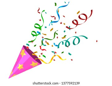 Party cracker with colorful Confetti. Exploding festive Popper isolated on transparent background. The element of celebrating a new year, birthday, anniversary. Vector illustration