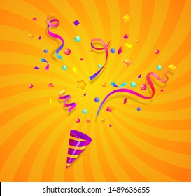 Party cracker with confetti,serpentine sparkles for festive congratulations,celebration new year,birthday,anniversary,greetings,evening parties.Fun exploding template isolated on sunburst background.