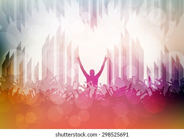 Party Crowd with Lights Blurred Background Template - Vector Illustration