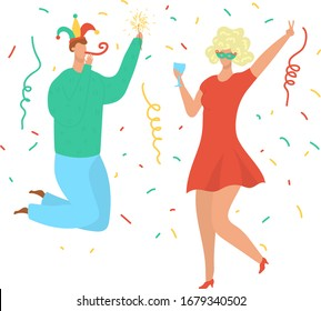 Party dance people, birthday celebration, young man and woman in clown hat and wig dancing disco music flat cartoon vector illustration isolated on white. Dancers at birthday party, festival, holiday.