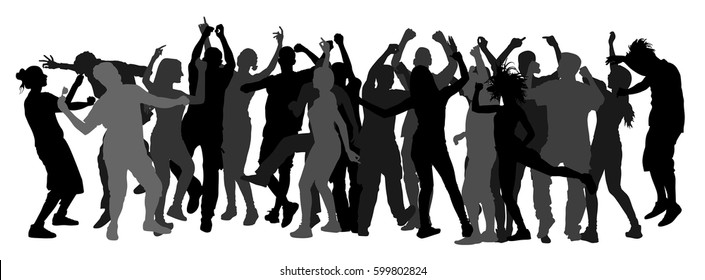 Party dancer people, girls and boys vector silhouette illustration. Nightlife party concept with crew dancing. Disco club event.  Birthday celebration. Teenagers in good mood. Fun and entertainment.