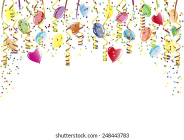 Party decoration with balloons and paper streamer