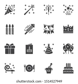 Party decoration vector icons set, modern solid symbol collection, filled style pictogram pack. Signs, logo illustration. Set includes icons as popper, fireworks, invitation card, flag, party balloons