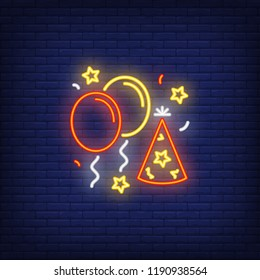 Party decorations neon sign. Luminous signboard with balloons and party hats. Night bright advertisement. Vector illustration in neon style for birthday, event, entertainment