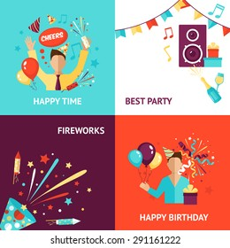 Party design concept set with birthday fireworks flat icons isolated vector illustration