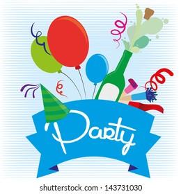 party design over blue background vector illustration
