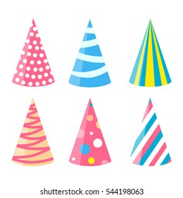 Party different hats collection for a birthday celebration, new year and other holidays.