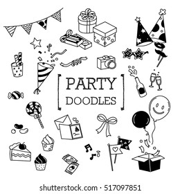 Party doodles set. Hand drawing of cute party objects