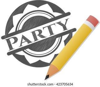 Party drawn with pencil strokes