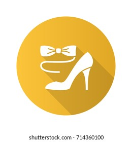 Party dress code flat design long shadow glyph icon. Bow tie and high heel shoe. Vector silhouette illustration